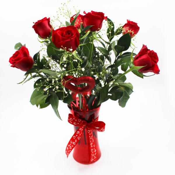 8 Roses Red Vase